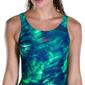 speedo FluoFlow Allover Recordbreaker Swimsuit Women Navy 34/Ultrasonic/Fakegreen